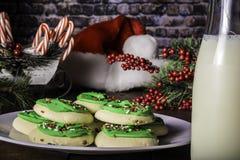 Verfraaide Sugar Cookies en Fles Melk Stock Fotografie