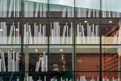 Verfraaide vensters van de bibliotheek in Delft, Nederland stock afbeelding