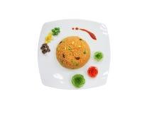 Verfraait de sinaasappel gebraden rijst met groente Stock Foto