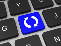 Verfris of recycleer sleutel op toetsenbord van laptop computer Royalty-vrije Stock Afbeeldingen