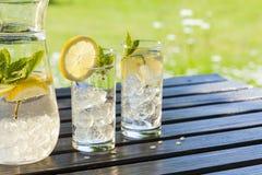 Verfrissend water met citroen en munt Royalty-vrije Stock Foto's