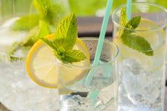 Verfrissend water met citroen en munt Stock Afbeeldingen
