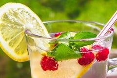 Verfrissende de zomercocktail met citroen, frambozen en muntclose-up stock afbeeldingen