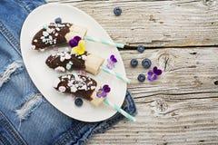 Verfrissende dessert van de Chocobanana maakte het Lichte zomer van bevroren die banaan Eskimo in een van donkere chocolade wordt Stock Fotografie