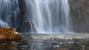 Verfrissende waterval bij zonsopgang Australië stock foto's