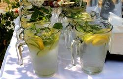 Verfrissing - Glaskruiken met het verfrissen van koude dranken in de zomer stock fotografie