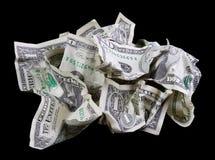 Verfrommeld geld op zwarte achtergrond stock foto's