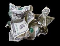 Verfrommeld geld op zwarte achtergrond stock fotografie