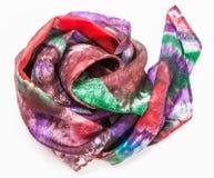 Verfrommeld headscarf met abstract patroon op wit Stock Afbeelding