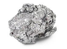 Verfrommelde bal van aluminiumfolie Royalty-vrije Stock Afbeeldingen