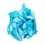 verfrommelde bal van blauw die document op wit wordt geïsoleerd royalty-vrije stock afbeelding