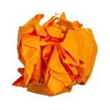 verfrommelde bal van oranje geïsoleerd document royalty-vrije stock afbeelding