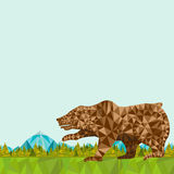 Verfrommelde document achtergrond met beer op landschap Royalty-vrije Stock Foto's
