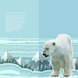 Verfrommelde document achtergrond met ijsbeer en sneeuwbos en mountines op horizont Stock Foto