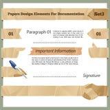 Verfrommelde Document Ontwerpelementen voor Documentatie Set3 Royalty-vrije Stock Fotografie