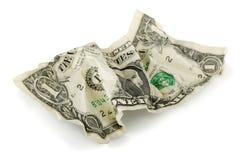 Verfrommelde dollar Royalty-vrije Stock Foto