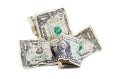 Verfrommelde dollars Stock Afbeelding
