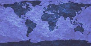 Verfrommelde wereldkaart stock illustratie