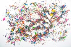 Verfspaanders van kleurpotloden Royalty-vrije Stock Foto's