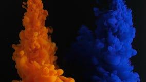 Verfstroom in water, het gekleurde inktwolk uitspreiden op zwarte achtergrond, abstracte achtergrond, video stock videobeelden