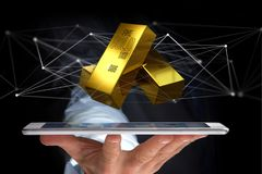 Verga d'oro che shinning davanti al collegamento - 3d rendono Fotografie Stock