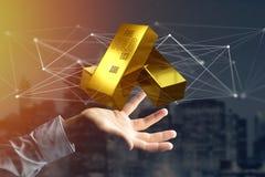 Verga d'oro che shinning davanti al collegamento - 3d rendono Fotografia Stock