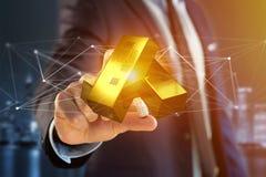 Verga d'oro che shinning davanti al collegamento - 3d rendono Fotografie Stock Libere da Diritti