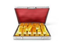 Verga d'oro in una valigia aperta Immagine Stock