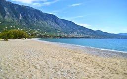 Verga strand på Kalamata Grekland Arkivbilder