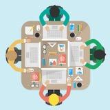 Vergadering, bureau, groepswerk, het brianstorming, illustra Stock Foto's