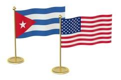 Vergadering de V.S. met het concept van Cuba Stock Afbeeldingen