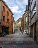 Vergadering in een kleine stad op een kleine straat Mechelen belgië royalty-vrije stock afbeelding