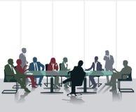 Vergadering en bespreking stock illustratie