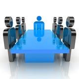 Vergadering met blauwe leider Stock Foto's