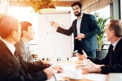 Vergadering met Chinese zakenlieden in bureau De mens toont raad met grafieken en grafieken stock afbeelding