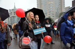 Vergadering 6 September 2013 tot steun van Navalny Stock Fotografie