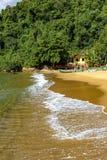 Vergadering tussen het overzees en het regenwoud in Ilha Grande Royalty-vrije Stock Fotografie