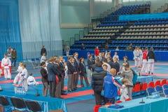 Vergadering van de rechters in karate Royalty-vrije Stock Foto