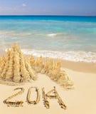 Vergadering van nieuw jaar 2014 op een tropisch strand Stock Foto