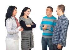 Vergadering van vier vrienden Royalty-vrije Stock Foto's