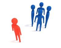Vergadering: vier blauwe 3d mensen en één buitenstaander, 3d illustratie Royalty-vrije Stock Fotografie