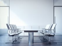 Vergaderzaal met een grote lijst en stoelen het 3d teruggeven Stock Fotografie