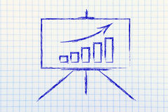 Vergaderzaal whiteboard tribune met positieve statsgrafiek Stock Fotografie