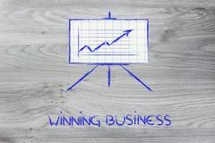 Vergaderzaal whiteboard tribune met positieve statsgrafiek Stock Afbeelding