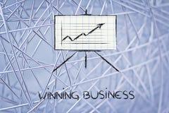 Vergaderzaal whiteboard tribune met positieve statsgrafiek Stock Foto