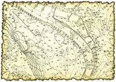 Vergeeld en bevlekt stuk van oude kaart royalty-vrije stock fotografie