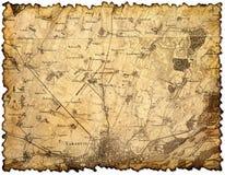 Vergeeld en bevlekt stuk van oude kaart stock fotografie
