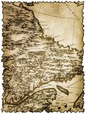 Vergeeld en bevlekt stuk van oude kaart royalty-vrije stock afbeelding