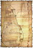 Vergeeld en bevlekt stuk van oude kaart stock afbeeldingen