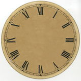 Vergeelde, document wijzerplaat uitstekende klok met Roman cijfers en zonder pijlen hersteld Op een witte achtergrond Stock Afbeelding